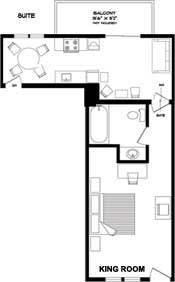 Floorplan for the one bedroom suite with king bed at the New Horizon Motel Christina Lake, B.C.