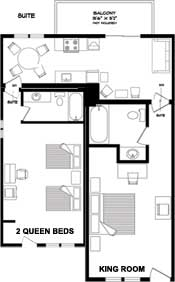 floorplan for two bedroom unit at the New Horizon Motel Christina Lake