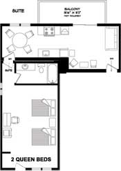 Floorplan for the one bedroom unit at the New Horizon Motel at Christina Lake, B.C.