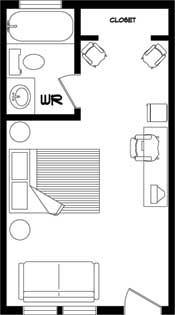 Floor plan for the Queen Bedroom at the New Horizon Motel
