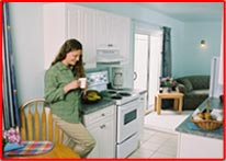 spacious rooms with kitchenettes at the New Horizon Motel Christina Lake