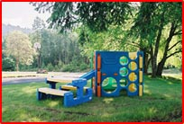 Outdoor play area at the New Horizon Motel